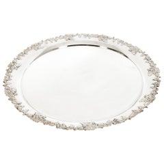Large English Silver Plated Circular Barware / Tableware Tray