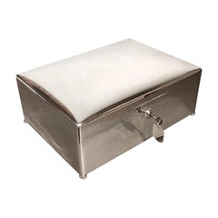 Large English Solid Silver Cigar Humidor, Hallmarked, Dated 1900