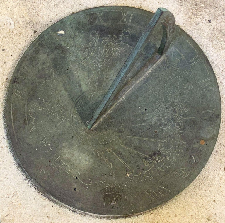 Large English Sundial of Composition Stone with Bronze Dial For Sale 5