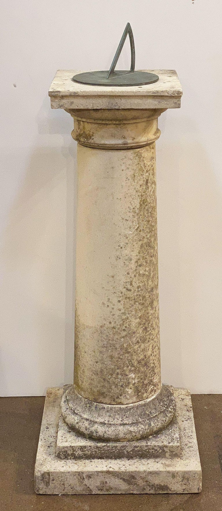 Metal  Large English Sundial of Composition Stone with Bronze Dial For Sale