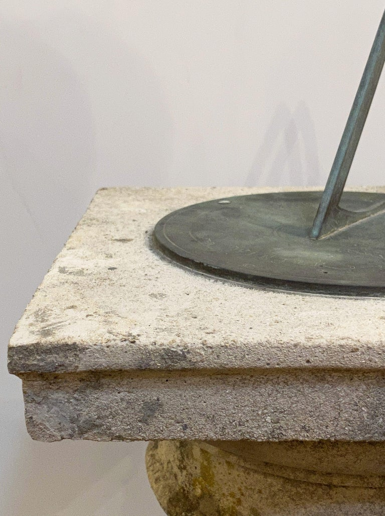 Large English Sundial of Composition Stone with Bronze Dial For Sale 4