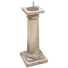 Large English Sundial of Composition Stone with Bronze Dial