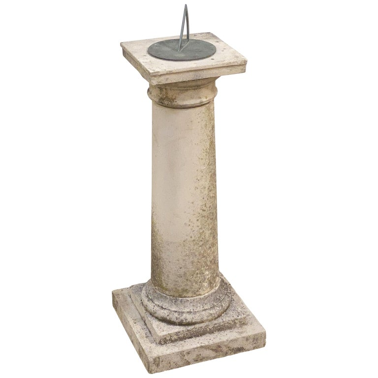 Large English Sundial of Composition Stone with Bronze Dial For Sale