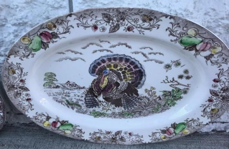 Decorated large and engraved turkey platter. Hand Engraved and in great condition.