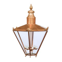 Large English Turn of the Century Hexagonal Copper Lanterns with Glass Panels