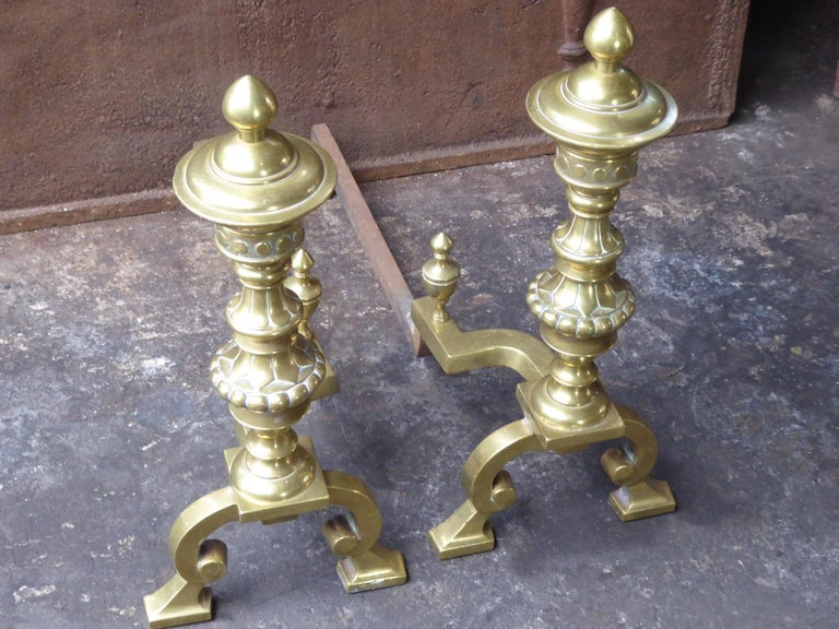 British Large English Victorian Andirons or Firedogs For Sale