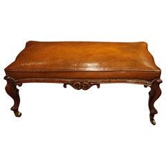 Large English Victorian Leather Stool Coffee Table, circa 1865