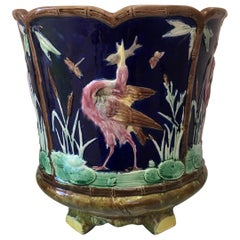 Large English Victorian Majolica Birds Jardinière Thomas Forester, circa 1890