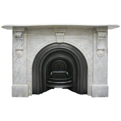 Large English Victorian White Carrara Marble Fireplace Surround