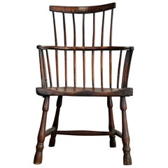 Large English West Country Comb Back Windsor Chair, 18th Century, Provincial