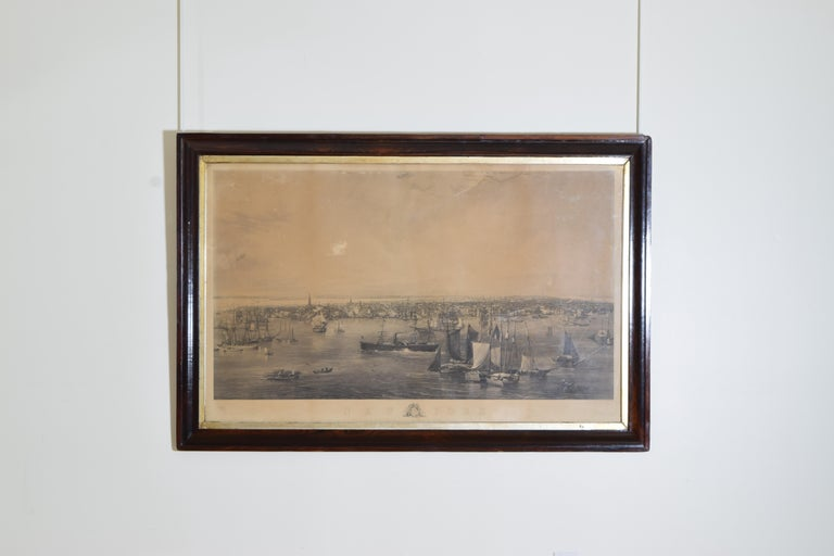Charles Mottram, British (1807-1876) Engraving of New York Harbor, marked
