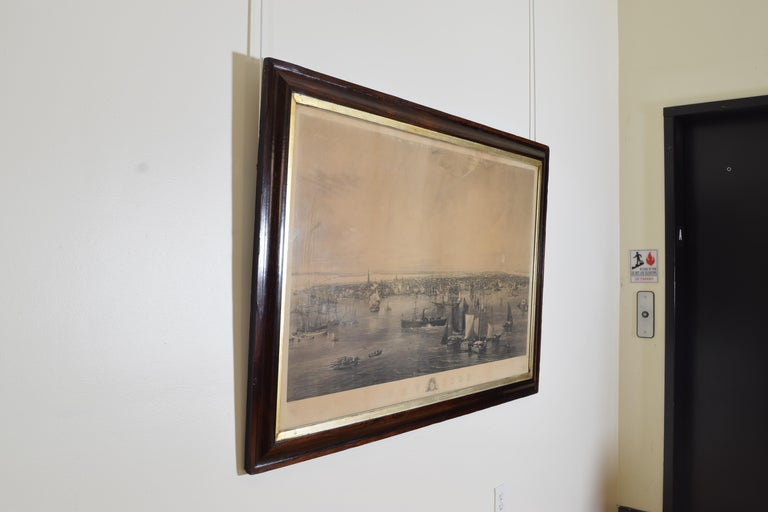 Engraved Large Engraving of New York Harbor in Period Rosewood Frame, ca. 1855