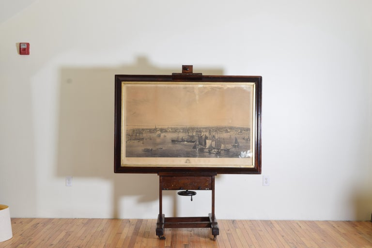 Large Engraving of New York Harbor in Period Rosewood Frame, ca. 1855 In Good Condition In Atlanta, GA