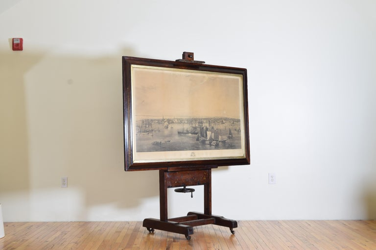 Mid-19th Century Large Engraving of New York Harbor in Period Rosewood Frame, ca. 1855