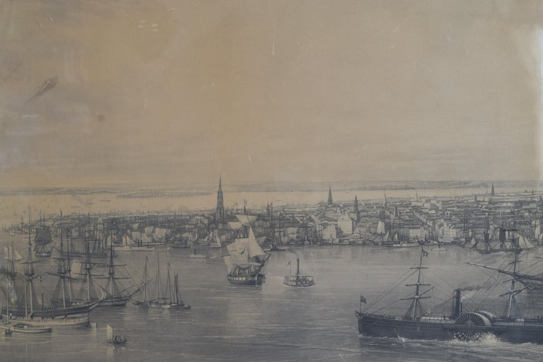 Large Engraving of New York Harbor in Period Rosewood Frame, ca. 1855 1