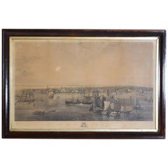 Large Engraving of New York Harbor in Period Rosewood Frame, ca. 1855
