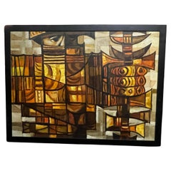 Large Enigmatic Abstract Oil Painting