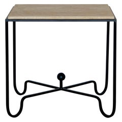 Large 'Entretoise' Grooved Travertine Side Table or Nightstand by Design Frères