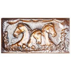 Large Equestrian Embossed Copper Plaque