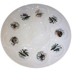 Large Estate French Porcelain Oyster Platter Signed 'G&L Limoges', circa 1950