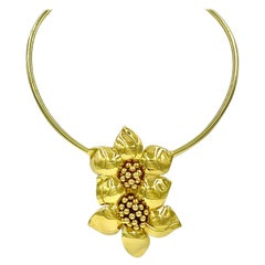 Large Estate Sabbadini 18K Gold Due Fiori Clip Brooch, Pendant Necklace Enhancer