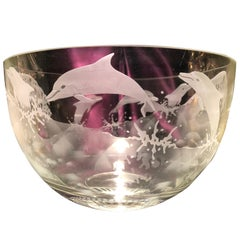 Large Etched Glass Dauphin Bowl, Artist Signed Clear Etched Glass Dauphin Bow