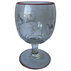 Large Etched Glass Footed Mixed Drinks or Punch Bowl