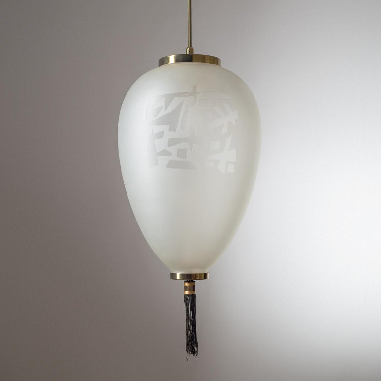 Large Etched Glass Pendant by Angelo Lelii, Arredoluce, 1958 For Sale 4
