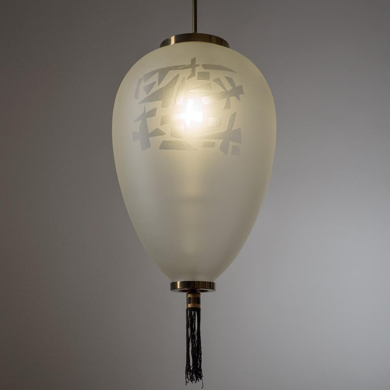 Large Etched Glass Pendant by Angelo Lelii, Arredoluce, 1958 For Sale 6