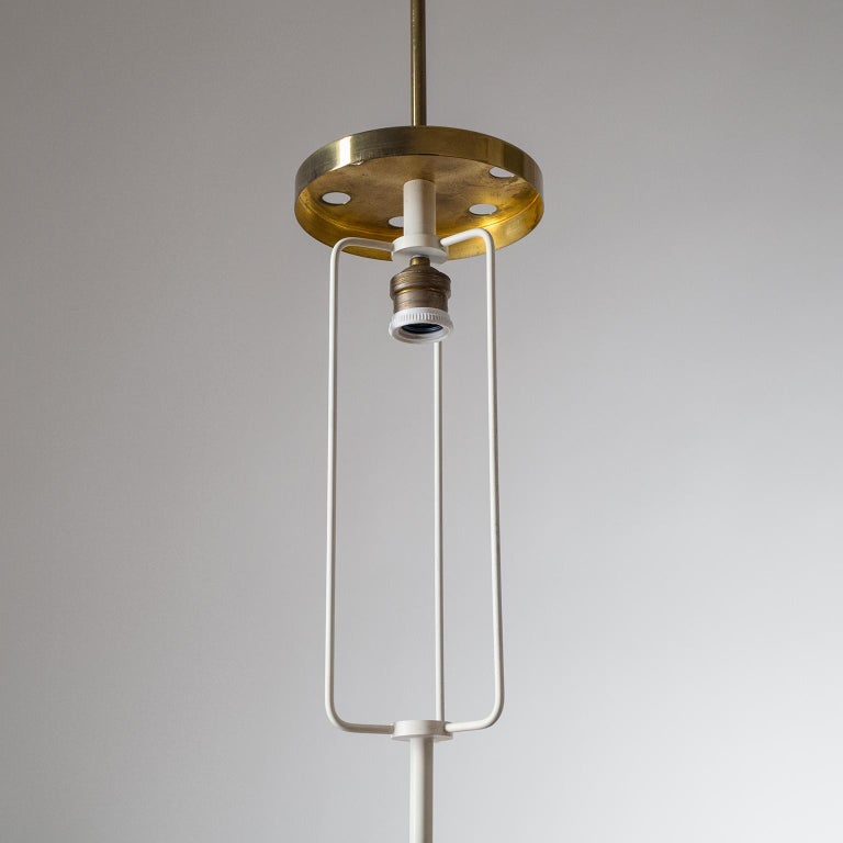 Mid-20th Century Large Etched Glass Pendant by Angelo Lelii, Arredoluce, 1958 For Sale