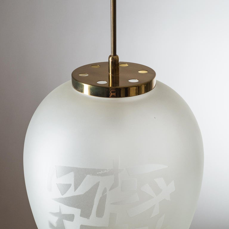 Brass Large Etched Glass Pendant by Angelo Lelii, Arredoluce, 1958 For Sale