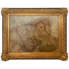 Large Ethereal Figural Painting with Impressive Frame