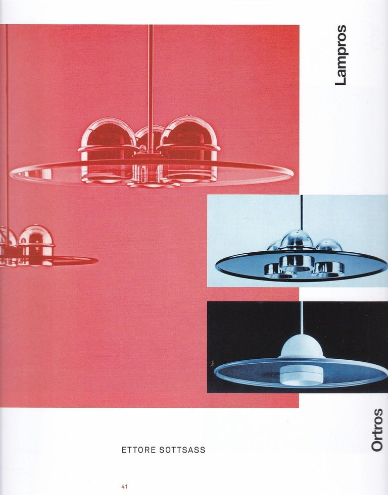 Large Ettore Sottsass Lampros 3 chandelier for Stilnovo, circa 1970. Executed in black painted aluminium and chromed metal with manufacturer's mark engraved on metal. A sophisticated and minimally refined design by an increasingly sought after