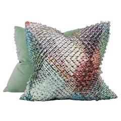 Large Euro Sham Pillows with Shag Frayed Geometric Woven