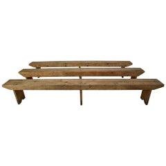 Large European Antique Pinewood Bench
