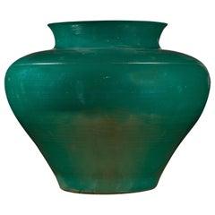 Large European Green Lidded Urn Signed Thomas W Hoff, Late 20th Century