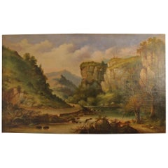 Large European Landscape Painting, Early 19th Century