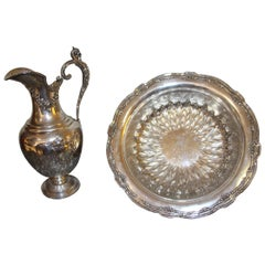 Large Ewer and Its Basin in Sterling Silver, 19th Century Flag