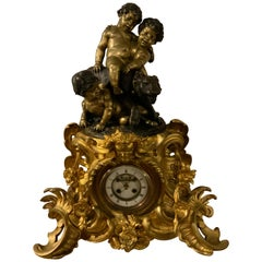 Large Exceptional French Bronze Dore Clock with Sculpture After Charles Anfrie