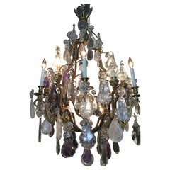 Large Exceptional Gilt Bronze Chandelier, with Rock, Clear, Amethyst Crystals