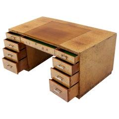 Large Executive Art Deco Burl Wood Partners Desk