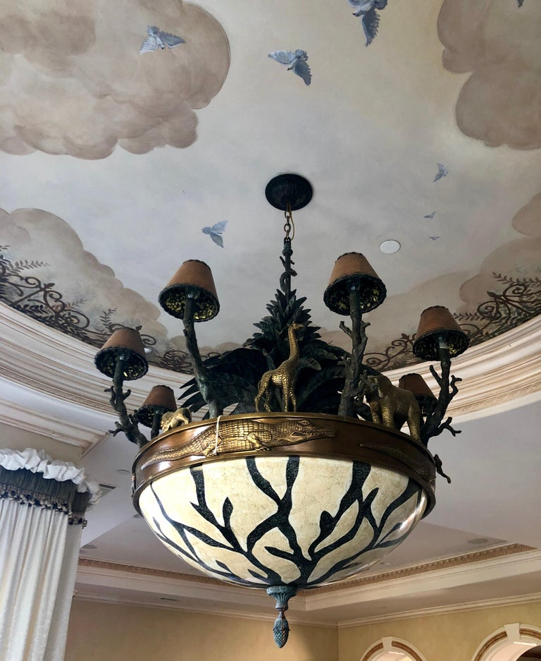 Large Exotic African Wildlife Chandelier Bronze and Verdigris Patinated Brass For Sale 4