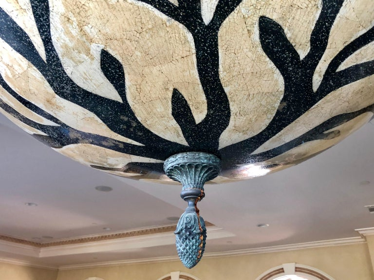Large Exotic African Wildlife Chandelier Bronze and Verdigris Patinated Brass For Sale 6