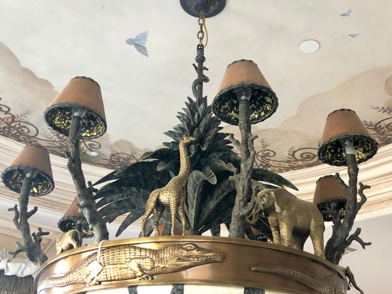 Unknown Large Exotic African Wildlife Chandelier Bronze and Verdigris Patinated Brass For Sale