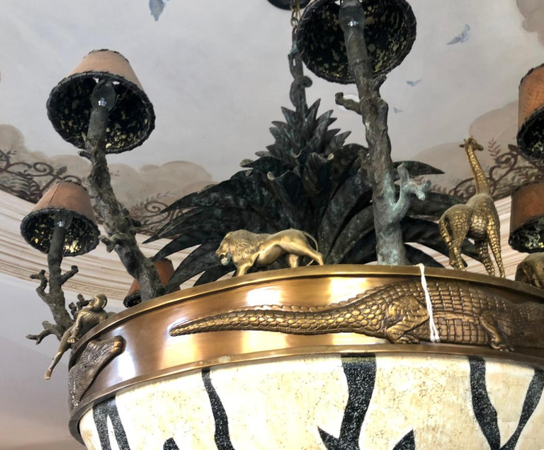 Large Exotic African Wildlife Chandelier Bronze and Verdigris Patinated Brass In Good Condition For Sale In Tustin, CA