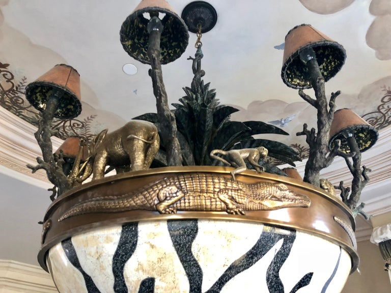 Contemporary Large Exotic African Wildlife Chandelier Bronze and Verdigris Patinated Brass For Sale