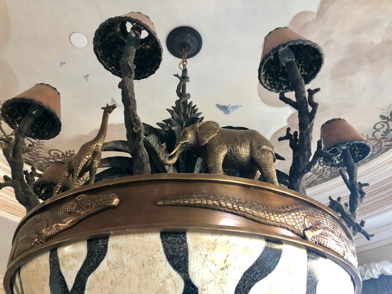Large Exotic African Wildlife Chandelier Bronze and Verdigris Patinated Brass For Sale 1