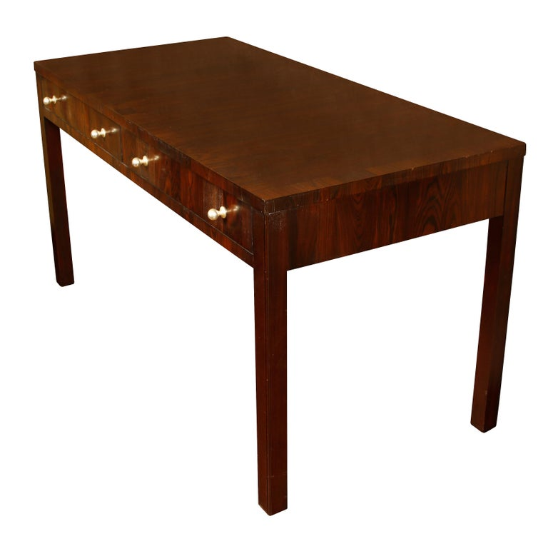 Large Exotic Wood Desk with Nickel Pulls In Good Condition For Sale In Locust Valley, NY
