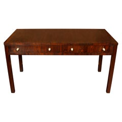 Large Exotic Wood Desk with Nickel Pulls