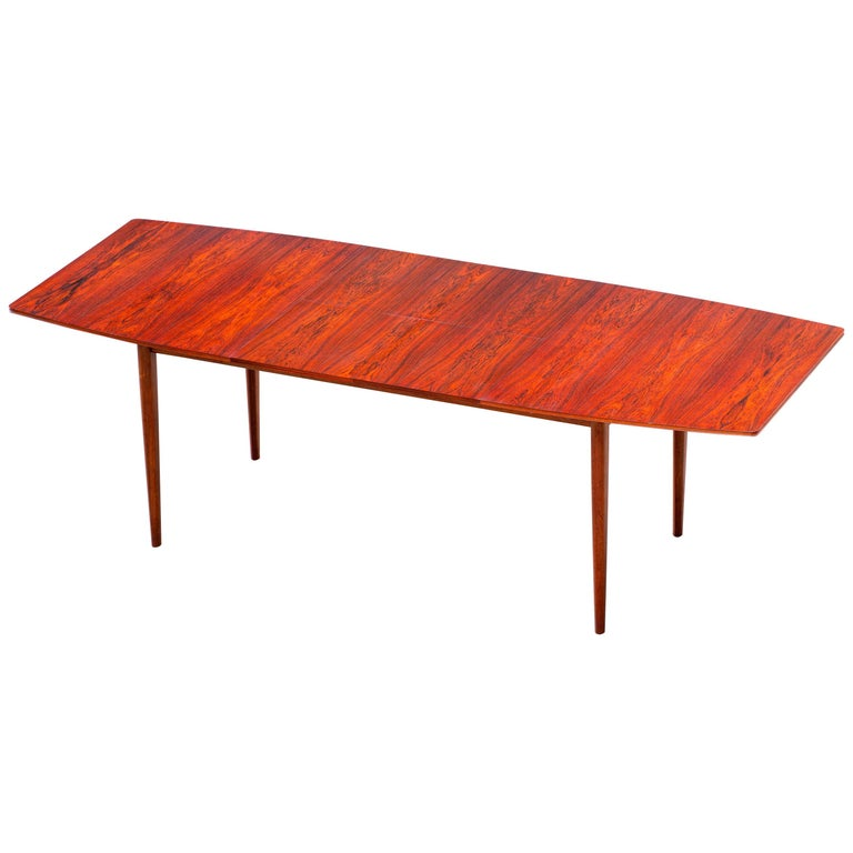 Large Expendable Rosewood Dining Table by Tom Robertson for McIntosh, 1960s For Sale